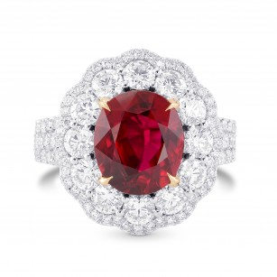 Pigeon Blood Red Oval Ruby & Diamond Extraordinary Ring, SKU 336675 (6.17Ct TW)