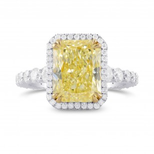 Fancy Light Yellow Radiant Diamond Halo Ring, SKU 338620 (5.83Ct TW)