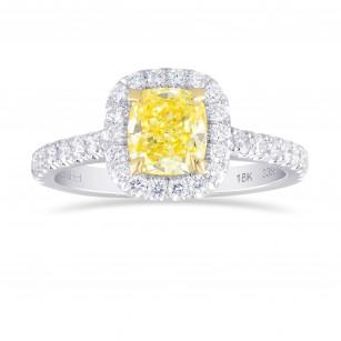 Fancy Yellow Cushion Diamond Halo Ring, SKU 338839 (1.40Ct TW)