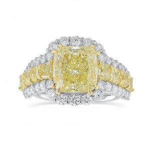 Fancy Yellow Radiant Diamond Side Stones Ring, SKU 344575 (5.37Ct TW)