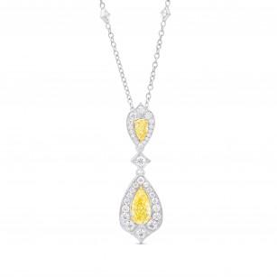 Fancy Yellow Diamond Halo Double Drop Pendant, SKU 348001 (2.70Ct TW)