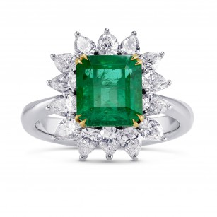 Green Emerald & Diamond Halo Ring, SKU 34833 (3.65Ct TW)