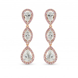 White Pear Marquise and Pink Diamond Drop Earrings, SKU 34847 (2.89Ct TW)