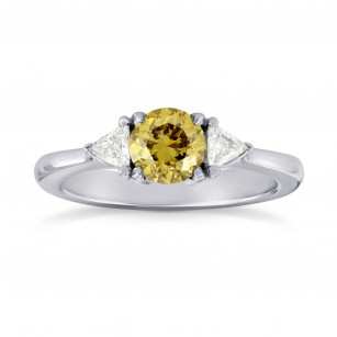 Fancy Brownish Yellow Brilliant Shape Diamond 3 Stone Ring, SKU 34969 (0.87Ct TW)