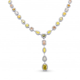 Extraordinary Multicolored Diamond Halo Drop Necklace, 商品编号 352499 (30.09克拉)