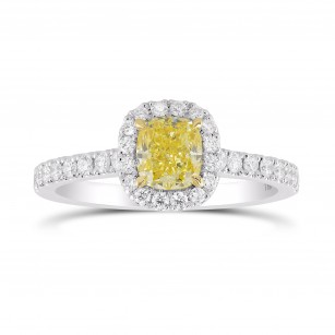 Fancy Intense Yellow Cushion Halo Ring, SKU 355399 (1.02Ct TW)