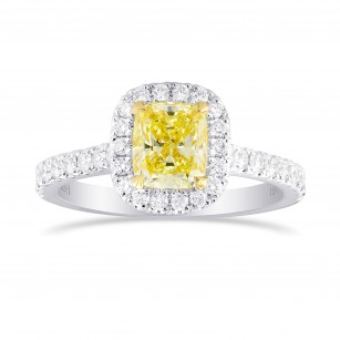 Fancy Yellow Cushion Diamond Halo Ring, SKU 355412 (1.50Ct TW)
