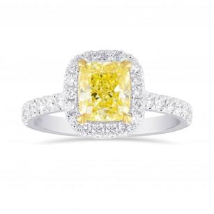 Fancy Yellow Cushion Diamond Halo Ring, SKU 355413 (2.05Ct TW)