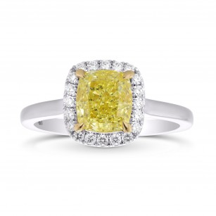 Fancy Yellow Cushion Diamond Halo Ring, SKU 355414 (1.64Ct TW)