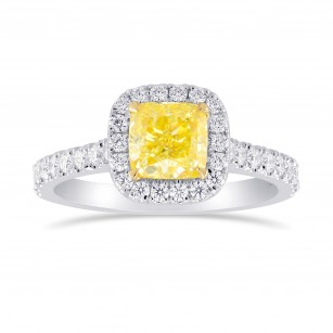 Fancy Intense Yellow Cushion Diamond Halo Ring, SKU 355422 (1.46Ct TW)