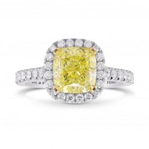 Fancy Yellow Cushion Diamond Halo Ring, SKU 355439 (2.69Ct TW)