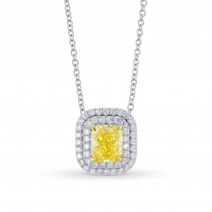 Fancy Intense Yellow Double Halo Pendant, SKU 355446 (1.32Ct TW)