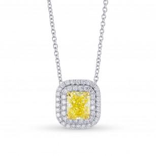 Fancy Intense Yellow Double Halo Pendant, 商品编号 355446 (1.32克拉)