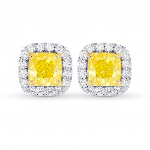 Fancy Intense Yellow Cushion Halo Earrings, SKU 355528 (1.23Ct TW)