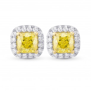 Fancy Yellow Cushion Diamond Halo Earrings, SKU 355530 (1.28Ct TW)