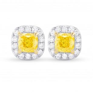 Fancy Intense Yellow Cushion Halo Earrings, SKU 355531 (0.81Ct TW)