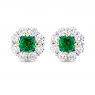 Green Round Brilliant Emerald and Diamond Halo Earrings (2.20Ct TW), SKU 355660 (2.20Ct TW)