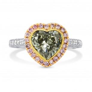 Greyish Yellowish Green Heart Diamond Ring with Pink Pave Diamonds, SKU 35668 (4.69Ct TW)