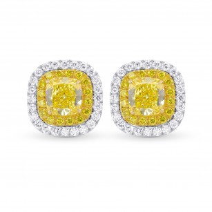 Fancy Intense Yellow Cushion Double Halo Earrings, SKU 356740 (1.47Ct TW)