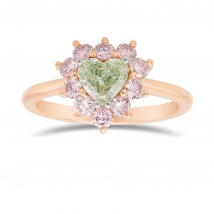 Fancy Green Heart Halo Diamond Ring, SKU 357119 (1.03Ct TW)