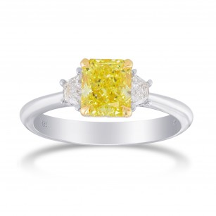 Fancy Intense Yellow Radiant Diamond 3 Stone Ring, SKU 358819 (1.48Ct TW)