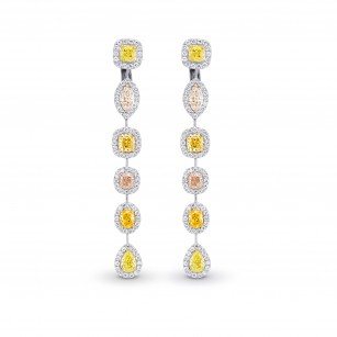 Extraordinary Multi-Color Diamond Drop Halo Earrings, SKU 361995 (6.89Ct TW)