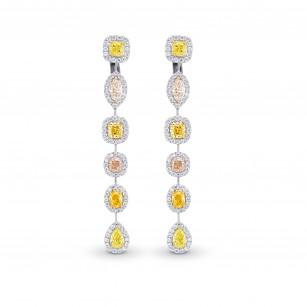 Extraordinary Multi-Color Diamond Drop Halo Earrings, 商品编号 361995 (6.89克拉)