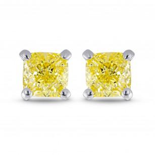 Fancy Yellow Cushion Stud Earrings, 商品编号 363083 (0.57克拉)
