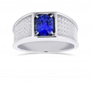 Cushion Cornflower Blue Sapphire Men's Ring, SKU 366108 (2.11Ct)
