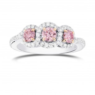 Argyle Fancy Pink Diamond 3 Stone Ring, SKU 366724 (0.96Ct TW)