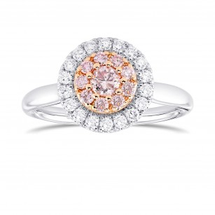 Fancy Light Pink Round Diamond Double Halo Ring, SKU 367315 (0.45Ct TW)