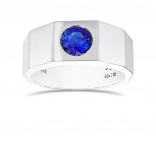 Round Sapphire Platinum Men's Ring, SKU 367319 (1.04Ct)
