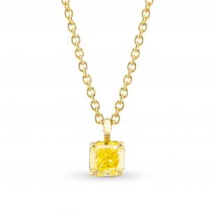Fancy Intense Yellow Radiant Diamond Solitaire Pendant, SKU 367508 (0.52Ct)