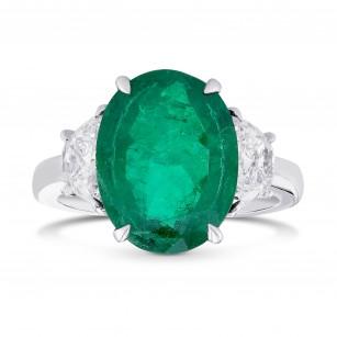 Green Colombian Oval Emerald and Half-Moon Diamond 3 Stone Ring, SKU 367801 (3.57Ct TW)
