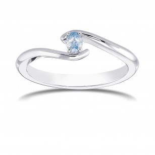 Fancy Intense Green Blue Oval Diamond Crossover Ring, SKU 368759 (0.11Ct)