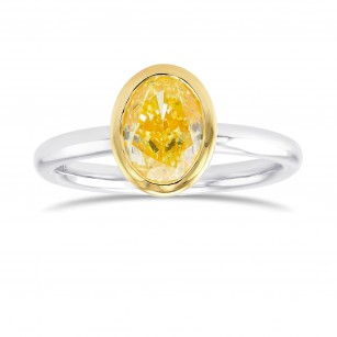 Fancy Intense Yellow Oval Diamond Solitaire Ring, SKU 369231 (1.25Ct)