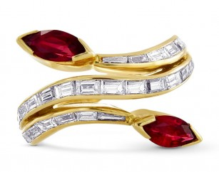 Marquise Red Ruby & Diamond Designer Crossover Ring, SKU 369602 (2.36Ct TW)