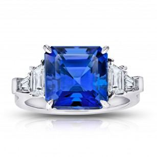 7.25 Carat Asscher Cut Blue Tanzanite and Diamond Ring, SKU 370812 (8.52Ct TW)