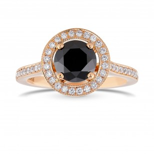 Natural Black Diamond Rose Gold Engagement Ring, SKU 371944 (1.62Ct TW)