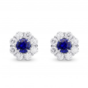 Blue Sapphire and Diamond Round Brilliant Halo Earrings, SKU 372764 (3.26Ct TW)