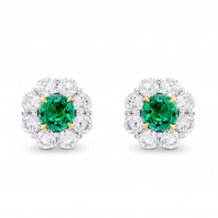 Green Emerald & Diamond Round Brilliant Halo Earrings, SKU 372765 (2.59Ct TW)
