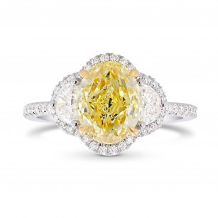 Fancy Light Yellow Oval Halo 3 Stone Ring, SKU 373097 (0.29Ct TW)
