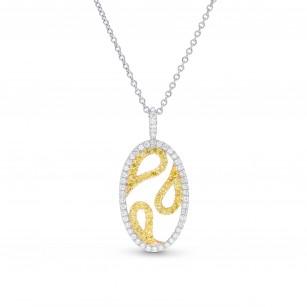 Fancy Intense Yellow & White Diamond Pendant, SKU 373803 (0.41Ct TW)