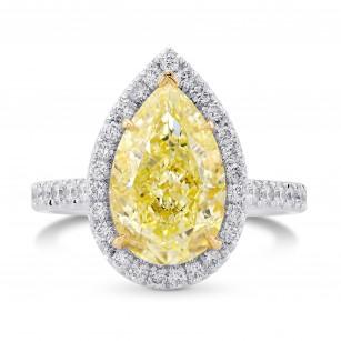 Light Yellow Pear Shape Halo Diamond Ring, SKU 375575 (5.70Ct TW)