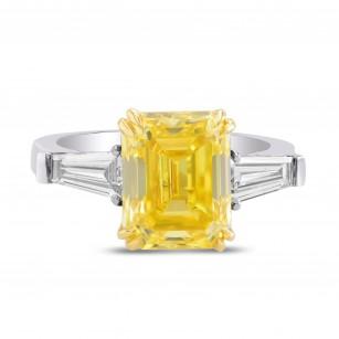 Fancy Vivid Yellow Emerald Diamond, 3 Stone Ring, 商品编号 375901 (5.79克拉)