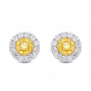 Fancy Intense Yellow  Round Brilliant Double Halo Diamond Earrings, SKU 385015 (0.88Ct TW)