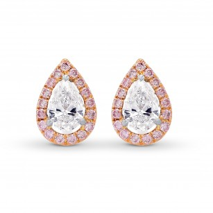 Pear shape Collection and Fancy Pink Halo Diamond Stud  Earrings, SKU 385712 (0.73Ct TW)