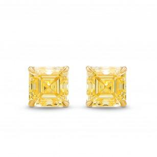 Fancy Yellow Asscher Stud Diamond Earrings, SKU 388265 (1.41Ct TW)