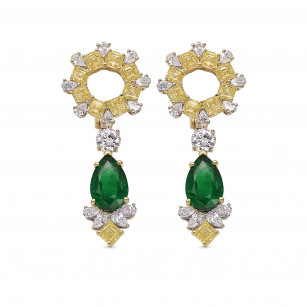 Extraordinary Green Emerald and Diamond Halo Drop Earrings, SKU 390278 (12.70Ct TW)