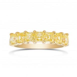 Fancy Intense Yellow AsscherDiamond Band Ring, SKU 390290 (1.76Ct TW)